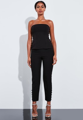 Missguided Black Co Ord Button Detail Bustier Top