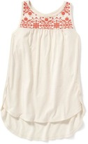 Old Navy Embroidered Tulip-Hem Tank for Girls