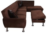 """Jocelynn 103"""" Modular Sectional with Ottoman Ebern Designs Body Fabric: Microfiber/Microsuede, Upholstery Color: Brown, Orientation: Right Hand Facing"""