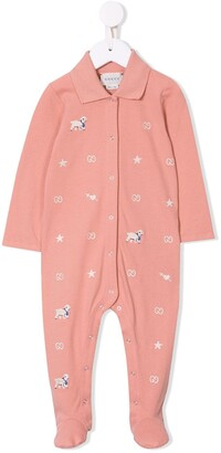 Gucci Kids Lamb Embroidered Pajamas