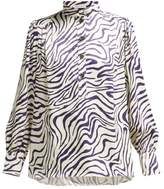 Bella Freud Bus Stop Okavango-print Satin Blouse - Womens - White Navy