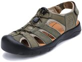 Agowoo Men's Strappy Leather Walking Beach Hiking Sandals 44 9.5 D(M)