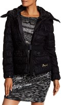 Desigual Lace Bubble Jacket With Tall Collar And Hood