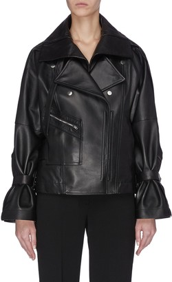 3.1 Phillip Lim Detachable collar ruched sleeve leather jacket