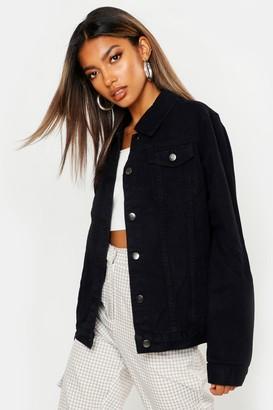 boohoo Oversize Black Denim Jacket
