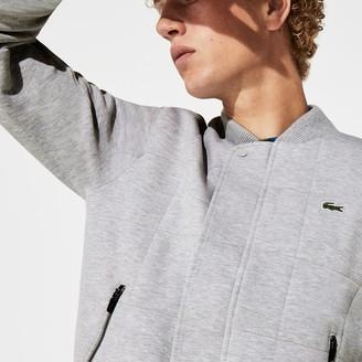 Lacoste Men's SPORT Quilted Cotton Blend Fleece Bomber Jacket