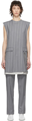 Acne Studios Grey Wool Pinstripe Dress