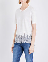 Sandro Lace-embroidered hem linen T-shirt