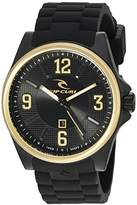 Rip Curl Men's 'Covert Gold' Quartz Plastic and Silicone Sport Watch, Color:Black (Model: A2901-GOL)