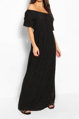 boohoo Jersey Broderie Off Shoulder Maxi Dress