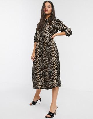 Vero Moda midi shirt dress with puff sleeves in leopard print
