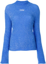 Off-White fuzzy knit high neck sweater - women - Polyamide - 38