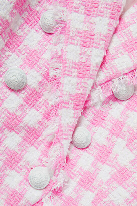 Balmain Frayed Checked Cotton-blend Tweed Blazer - Pink