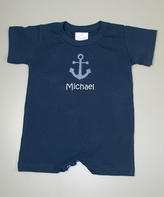 Princess Linens Navy Anchor Personalized Romper - Infant