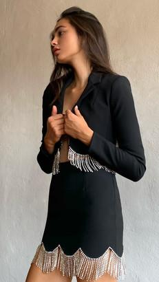 Area Miniskirt with Scalloped Crystal Hem