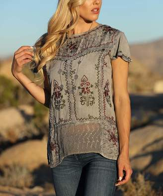 Ananda's Collection Women's Tunics paloma - Paloma Gray Floral Embroidered Tunic - Women & Plus