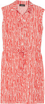 Printed cotton and linen-blend dress