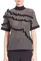 Opening Ceremony Striped Ruffle Boxy Top