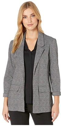 Liverpool Boyfriend Blazer w/ Princess Dart in Glen Plaid Knit (Black/White) Women's Clothing