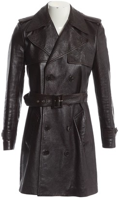 Saint Laurent Brown Leather Trench Coat for Women