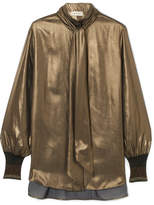 By Malene Birger Charani Pussy-bow Lamé Blouse - Gold