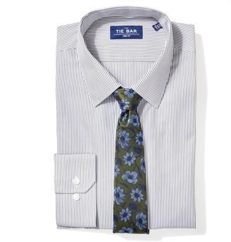 The Tie BarThe Tie Bar Olive Green Vertical Stripe Non-Iron Shirt