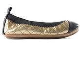 Yosi Samra Gold Quilted Scarlet Ballet Flat - Infant Toddler & Girls