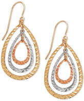 Macy's Tri-Tone Teardrop Orbital Drop Earrings in 10k White, Yellow and Rose Gold