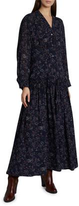 Chloé Floral Print Silk Maxi Dress