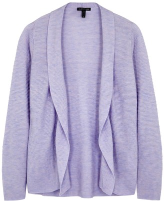 Eileen Fisher Lilac draped ribbed-knit cardigan