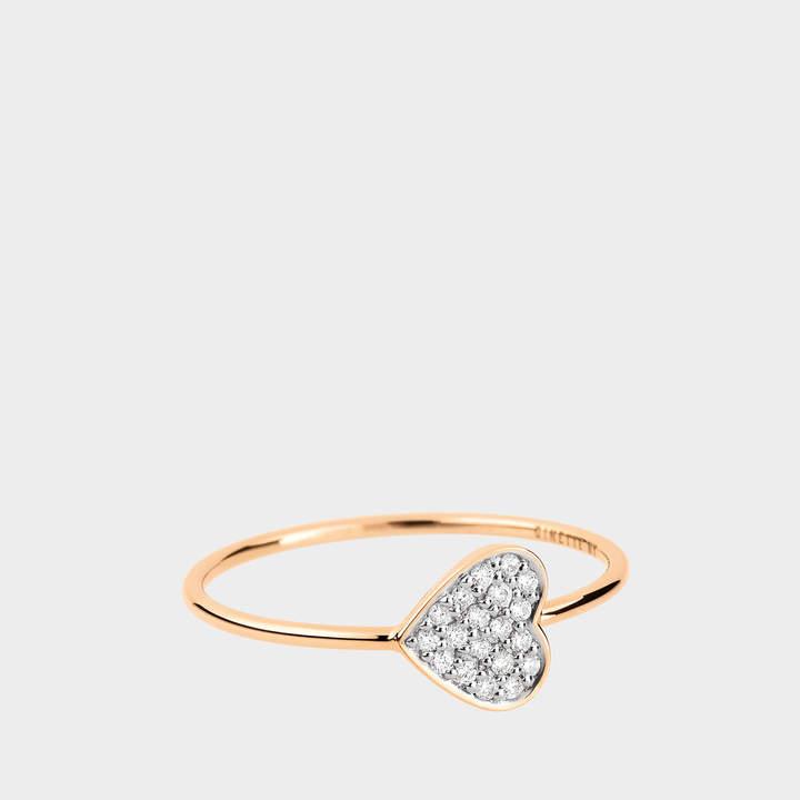 ginette_ny Tiny Diamond Heart Ring in 18K Rose Gold and Diamonds
