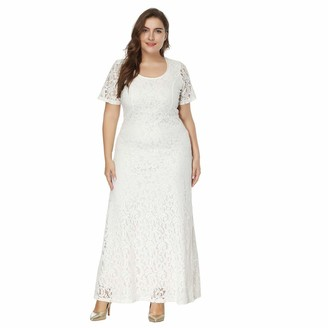 Kalorywee Ladies Dress Sale 2019 Women Solid Oversize Vintage Floral Lace Plus Size Cocktail Formal Swing Dress White
