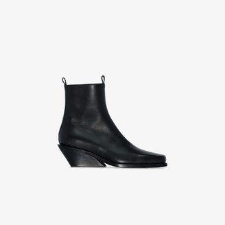 Ann Demeulemeester Black 40 Leather Wedge Ankle Boots