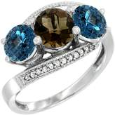 Gabriella Gold 14K White Gold Natural Smoky Topaz & London Blue Topaz Sides 3 stone Ring Round 6mm Diamond Accent, size 8