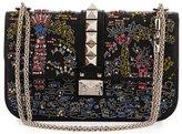 Valentino Medium Beaded Rockstud Chain Shoulder Bag, Black