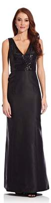 Adrianna Papell Womens Black Sequin Mikado Gown - Black