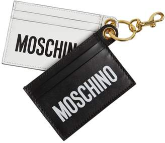 Moschino DOUBLE LOGO PRINT LEATHER CARD HOLDERS