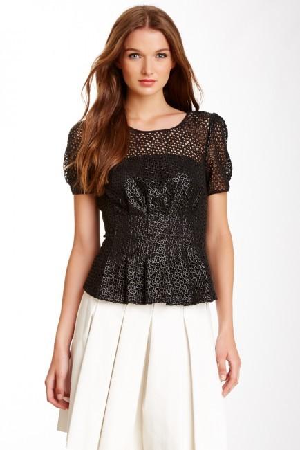 Catherine Malandrino Yellow Label Ciara Peplum Lace Shirt