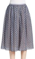 Michael Kors Gingham Perforated A-Line Skirt