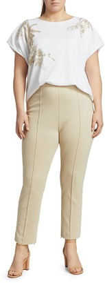 Joan Vass, Plus Size Exposed Seam Cropped Pants