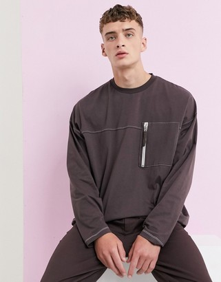 Asos Design DESIGN super longline oversized long sleeve t-shirt with contrast stitching and utility pocket in brown
