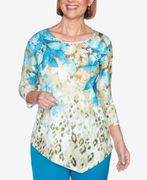 Alfred Dunner Women's Plus Size Colorado Springs Animal Print Floral Yoke Top