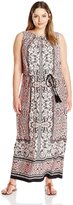 London Times Women's Plus-Size Sleeveless Printed Blouson Maxi Dress with Tassle Belt