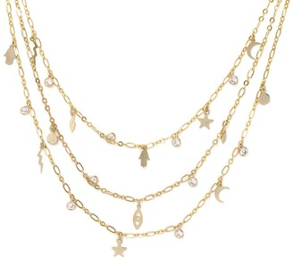 Ettika 18K Gold Plated CZ Chain & Charm Necklace
