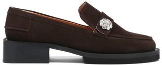 Ganni Crystal-embellished Suede-leather Loafers - Dark Brown