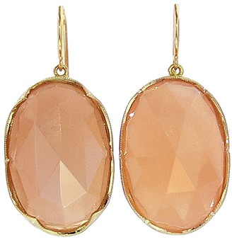 Irene Neuwirth Oval Rose Cut Peach Moonstone Yellow Gold Earrings