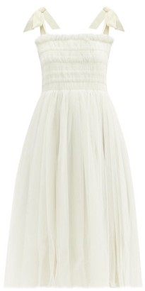 Molly Goddard Griffith Smocked Tulle Dress - Womens - Ivory