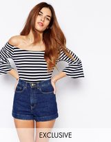 Off Shoulder Crop Top With Fluted Sleeve