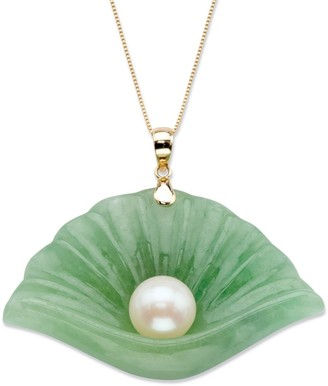 PalmBeach Jewelry 10K Gold Pendant Jade Shell and Genuine Cultured Freshwater Pearl