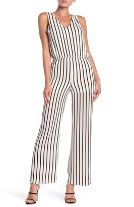 Love...Ady Stripe Double V Jumpsuit